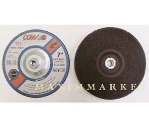 """7"""" x 1/4"""" x 5/8-11 Depressed Center Grinding Wheels A24-R-BF Box of 10"""