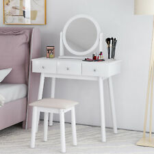 White Dressing Table Vanity Set with Mirror Stool Makeup Desk Bedroom Furniture