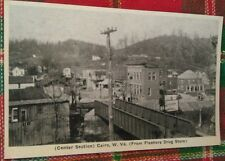 Old Cairo Wv. Center Section & Railroad Bridge From Fleshers Drug Postcard Repo