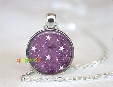 Twinkle Little Star Purple glass Tibet silver Chain Pendant Necklace wholesale