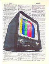 Art N Words Retro Television Set Original Dictionary Page Pop Art Wall Print