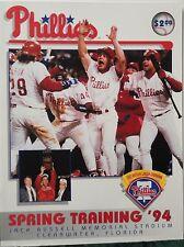1994 Phillies Spring Training Program vs Toronto Blue Jays - Unmarked Scorecard