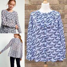 White Stuff Trixie Frill Shirt UK 14 Prairie Blue Floral Print Victoriana