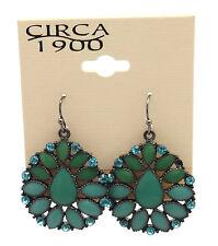 """CIRCA 1900 JEWELRY Silvertone Sunflower w Blue Crystal Dangle Earrings 1 1/4"""""""