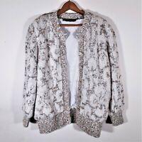 Vintage Rochelle California Floral Atomic Fleck Cardigan Sweater Metallic Knit L