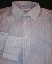 Burberrys of London Blue Striped Dress Shirt French Cuffs 16 1/2-33 EUC