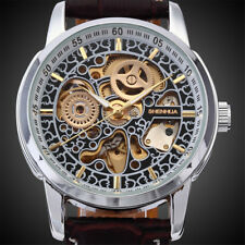 STEAMPUNK Mens Automatic Self Wind Mechanical Skeleton Brown Leather Wrist Watch