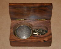 Antique vintage maritime brass pocket watch working marco polo with wooden box