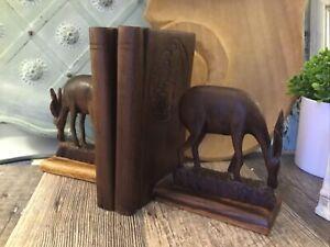 Vintage Carved Wooden Gazelle Antelope Horned Deer Bookends Mid Century Modern