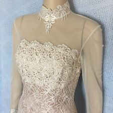 Victorian Ivory  Lace Over Champagne Satin Wedding Dress with Selftrain, Size 6