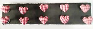 HEARTS RED GINGHAM Push Pin Set - 10pc Handmade Decorative Thumb Tacks