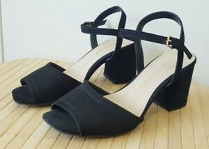 Women's Black Heeled Shoe Size 6 F&F Sensitive Sole Strappy Ankle Smart Occasion