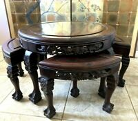 Antique Qing Chinese Rosewood Tea Table w/ 4 Nesting Stools, Singapore Label