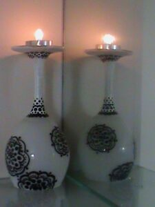 Candles Holders wine glass Set Of 2 Tea light white and black Glass Vase