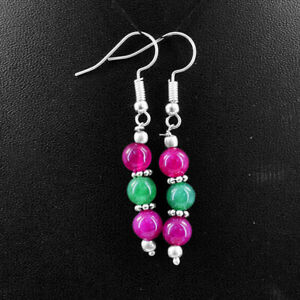 20.00 Cts Earth Mined Red Ruby & Green Emerald Gemstone Round Beads Earrings
