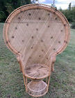 VINTAGE 1970'S NATURAL WICKER RATTAN FAN BACK PEACOCK CHAIR