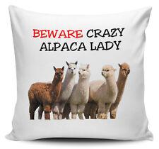 Beware Crazy ALPACA LADY Novelty Cushion Cover