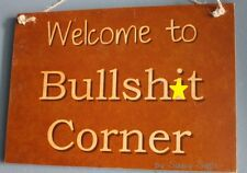 Bulls*it Corner Pub & Bar Sign - naughty cute beer shed tavern wooden man cave