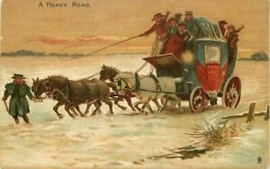 A Heavy Road C-1910 Tuck UK Stagecoach #2824 Postcard 21-2223
