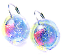 "DICHROIC Glass Earrings Ice Blue Peach Clear Round Euro Lever Dangle 1/2"" 12mm"