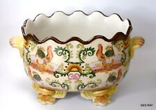 Chinese Export Porcelain Hua Rong Tang Zhi Rooster Footed Bowl Planter Vase