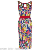 PRETTY KITTY 40s BLUE FLORAL WIGGLE PENCIL COTTON VINTAGE COCKTAIL DRESS 8-18
