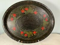 Vintage Antique early Toleware hand painted tray black strawberry 16.5 x 13.75""