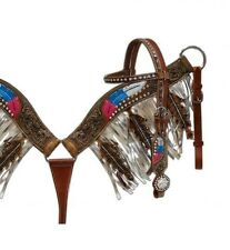 Showman Leather Bridle & Breast Collar Set w/ Painted Feather Tooling & Fringe!!