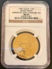"""1981 Mark Twain 1 oz. Gold Certified Commemorative Medal"""