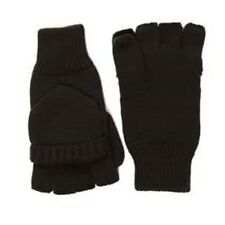 Black Fingerless Gloves Mitten Flap One Size Knitted Thermal Two in one Shooter
