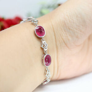 """NATURAL 8 X 10 mm. OVAL CUT RED RUBY & WHITE CZ BRACELET 9"""" 925 SILVER"""