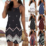 AU Women Halter Neck Boho Print Sleeveless Casual Mini Beachwear Dress Sundress