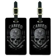 Carved One Shot Kill USA Flag Skull Tactical Luggage ID Tags Cards Set of 2