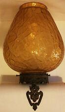 Vintage Antique Amber Crackle Glass Hanging Light Fixture BRONZE Acorns Lg Globe
