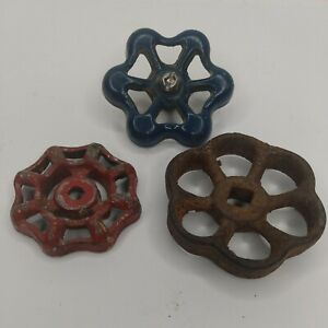 3 pcs Vintage Industrial Metal Outdoor Faucet / Spigot Handle Knob Steampunk Art