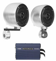 "(2) Rockville MS40B Chrome 4"" Tower Speakers+Hifonics Amp For ATV/UTV/Cart"