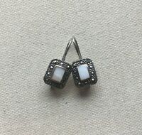 """Marcasite Steampunk Dangle Earrings Sterling Rectangle Shell Classic Gothic 1"""""""
