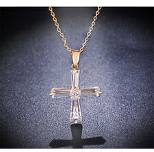 Simply Fashion Crystal Cross Pendant Necklace Chain For Women 18K Yellow Gold Pl