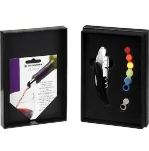 Le Creuset Bottle Opener Wine Accessories Gift Set with Black handle NEW