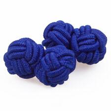DQT Premium Polyester Plain Wedding Casual Business Suit Men's Knot Cufflinks Royal Blue