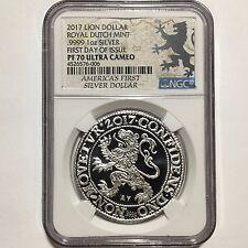 2017 Netherlands Royal Dutch Lion Dollar 1oz 999 Silver Coin NGC PF70 ~ 5K