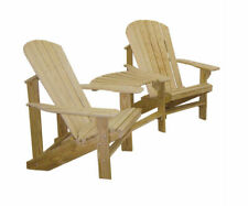 Amish Made Treated Pine Outdoor Adirondack Chair Settee with Connector Table!