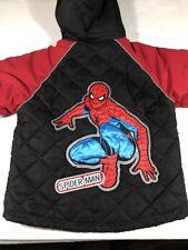 Spiderman Coat Jacket Boys Hood Marvel Winter Puffer Size 4 Embroidered Logo