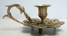 Superbe et Ancien BOUGEOIR de Table en Bronze du XIXème siècle Décor Fleur