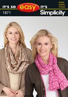 Sew & Make Simplicity 1871 SEWING PATTERN - Womens SILK FASHION SCARVES Uncut