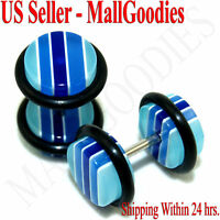 1154 Fake Cheaters Faux Illusion Ear Plugs 16G Stripe Light Dark Blue Pattern 0G