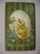 VINTAGE EMBOSSED EASTER POSTCARD CHICK BY EGG LOOKING AT FLY 1910 WALLPAPER FACE