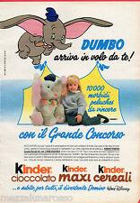 Pubblicità Advertising 1990 KINDER Maxi Cereali Cioccolato Concorso Dumbo