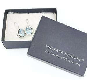 Silpada .925 Sterling Silver & Oval Blue Topaz Earrings W1157