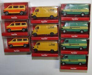 HERPA H0 zehn Kleinbusse 4 x Schenker(4124), 3 x Post(4123), 3 x Schulbus 041652